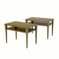 Th robsjohngibbings  widdicomb pair of twotier walnut end tables widdicomb decal with stenciled numbers and grand rapids metal tag 21 x 30 x 18