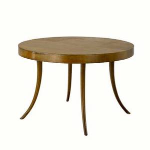 Th robsjohngibbings walnut extension dining table with circular top and sabre legs widdicomb decal 28 12 x 44 dia