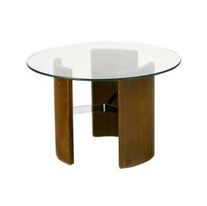 Milo baughman  thayer coggin side table with circular glass top over wood and chromed steel base 19 12 x 30 dia