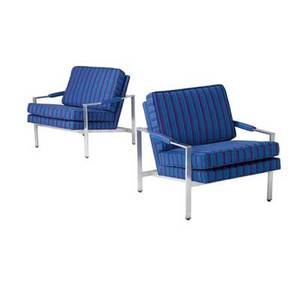 Milo baughman pair of lounge chairs with striped wool upholstery on brushed steel frames 30 x 28 12 x 31