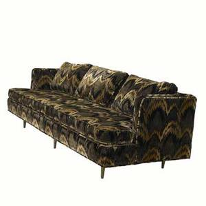 Edward wormley  dunbar sofa upholstered in brown and black velour on brass legs 30 x 88 12 x 34 14