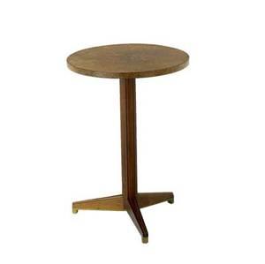 Edward wormley  dunbar rare pedestal table with burled maple top on tripod base with brass sabots dunbar brass tag 24 x 16 34 dia
