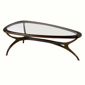 Modern coffee table in cavonia with inset glass top on sculptural base 1970s 15 x 43 x 23 14