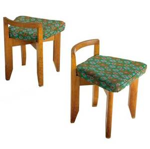 Guillerme et chambron  votre maison pair of rubercrins oak chairs with floral wool seat 21 12 x 17 x 17 12