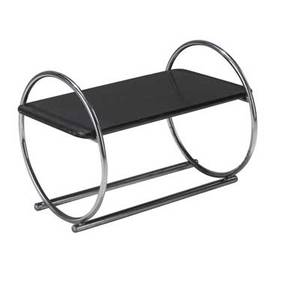 Wolfgang hoffmann  howell coffee table with black lacquered top on elliptical tubular chromed steel base 20 12 x 28 x 18 12
