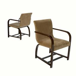 Gilbert rohde  herman miller pair of armchairs with mohair upholstery on lacquered and bent maple frames 33 x 22 12 x 25