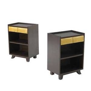 Gilbert rohde  herman miller pair of nightstands each with single leatherettecovered drawer and lower shelf marked with stenciled numbers 25 x 18 x 12 12
