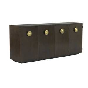 Gilbert rohde  herman miller fourdoor paldao sideboard with large conical etched brass pulls the interior with slideout trays and single shelf 28 14 x 66 x 15 12