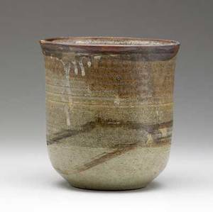 Toshiko takaezu stoneware vessel covered in brown tonal glazes signed tt 8 x 7