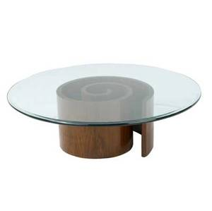Vladimir kagan snail coffee table with beveled plate glass top 15 x 48 dia