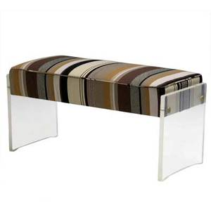 Vladimir kagan piano seat upholstered in original striped wool elephant fabric on lucite base 19 x 40 x 17