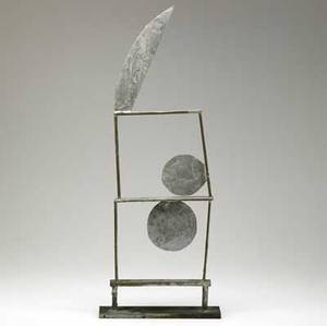 Win knowlton american b 1953 steel sculpture indian brave 1988 signed dated and titled 30 x 12 x 2 34