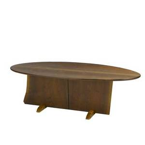 New hope school walnut coffee table with elliptical top over a freeform base with two butterfly keys on sculpted maple feet 18 x 54 x 24 14