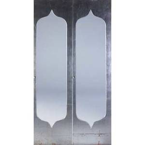 Phillip lloyd powell set of four sculpted plywood doors in silver leaf and chinese red finish with steel pulls each 88 x 19 12 x 1 12