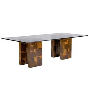 Paul evans dining table with glass top over two olivewood patchwork bases signed 29 14 x 95 14 x 43 34