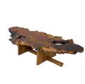 Mira nakashima coffee table its freeedge redwood root burl top with single rosewood butterfly key over black walnut double minguren i base 2004 signed and dated 17 x 80 x 30