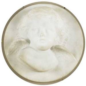 Late 19th c marble two sculptures relief of cherub head attributed to brown and bigelow 6 78 x 6 38 x 2 12 bust of an angel by unknown artist 6 716 x 6 716 x 2 12 provenance br