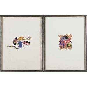 Hiroshi murata japanese b 1941 two offset lithographs each framed 1982 sfs autumn fans 1880 sfs fans with lungee 1780 provenance collection of marie mailman boston both signed