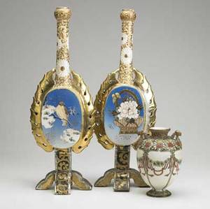Asian ceramics three items a nippon vase with floral and ribbon decoration together with a pair of glazed earthenware lamp bases painted with birds some nicks ca 1920 nippon marked 7 and 19