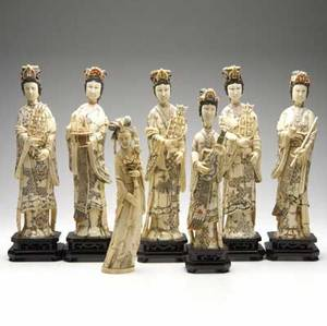 Chinese ivory  bone six carved and polychromed figures on wood bases in both ivory and bone together with an ivory figure of a woman holding a flowering branch 20th c 16 18