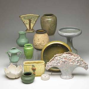 American art pottery thirteen vases by teco weller redwing and van briggle all marked tallest 8 12
