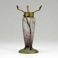 Daum lamp base with winter trees against a dawn sky large reglued chip to neck missing fittings 9 12 x 4 dia