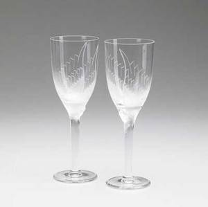 Lalique stemware pair of wine glasses with cut and frosted decoration of woman with wings 8