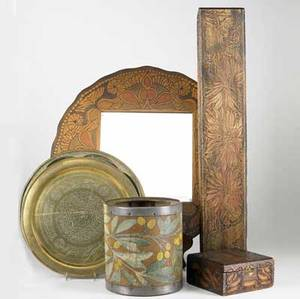 Pyrography  decorative items six items includes two boxes one rectangular with floral decoration the other square with mucha style decoration mirror with floral frame decorative firkin painted w