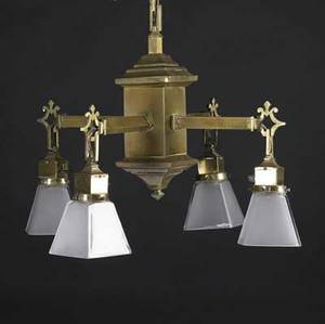 Period lighting brass chandelier with four arms and new frosted glass shades complete with chain and ceiling cap 33 x 24