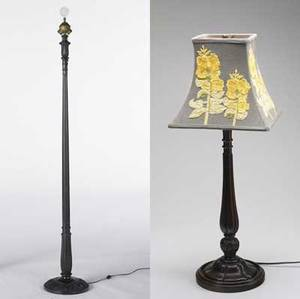Contemporary arts  crafts two lamps a columnar table lamp with wooden shaft and crewelwork shade together with a carved wood columnar floor lamp missing shade table lamp 29 floor lamp
