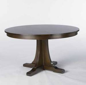 Stickley  ej audi reproduction split pedestal dining table with corseted base and shoe feet complete with three 15 leaves table closed 30 x 50 dia