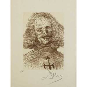 Salvador dali spanish 19041989 velasquez from the series the five spanish immortals rives etching framed 1965 publisher jean schneider basel literature field albert the official c