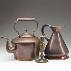 Copper and brass three pieces including dovetailed copper teapot with gooseneck spout copper measure and a brass candlestick teapot 11 12
