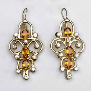 Artisanal yellow sapphire  diamond earrings 18k yg each with three yellow sapphires surrounded by ten diamonds 1 34 long yellow sapphires approx 4 cts tw diamonds approx 2 cts tw 183 gw