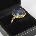 Erwin pearl freeform and lapis ring in 14k yg size 8