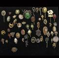 Stick pins grouping of fiftythree ca 1900 including gold silver gf gems pearls diamonds glass etc