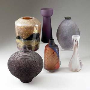 Contemporary pottery  glass group of six five vases in iridescent frosted or striated glazes and an ovoid vessel with textured surface tallest 9