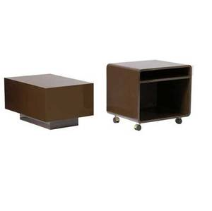 Modern media stand on casters with pedestal in chocolate brown lacquered finish en suite with occasional table 18 x 23 x 20 and 16 x 30 x 20