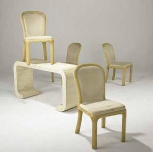 Style of karl springer set of four side chairs with reeded frames and a similar console table together with metal floor lamp not pictured table 28 x 51 x 15 34