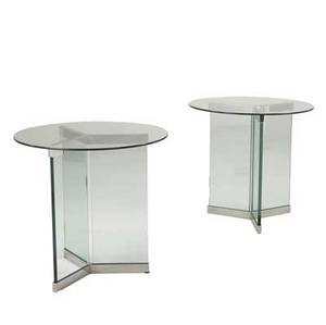 Pace pair of stainless steel and glass side tables 28 x 30 dia