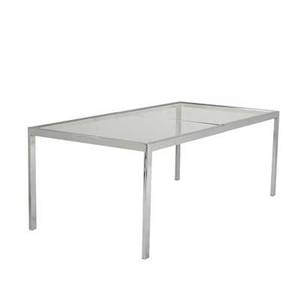 Milo baughman chrome and glass dining table 28 x 76 x 38