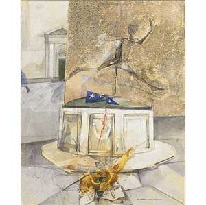 20th c contemporary art four works of art andrea pagnacco italian b 1937 two mixed media works on illustration board venezia 8 34 x 11 34 sheet venezia un fuoco afime carnevale