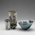 Stephanie lester et al three items glazed ceramic vase guardian angels protecting the whales 1983 glazed ceramic bowl with rocks and characters 1986 and cup painted on exterior and interior w