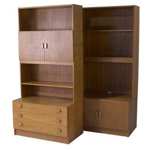 Ejsing mobelfabrik pair of teak storage units one with three drawers and cabinet top the other with two doors and two shelves each 70 12 x 33 34 x 20