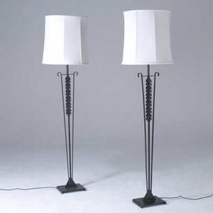 Modern pair of cast iron floor lamps with faceted white metal shades 69 x 18