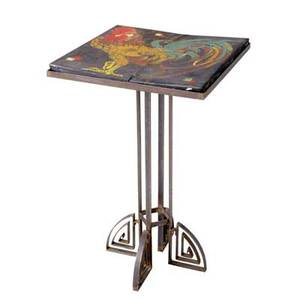 Art deco occasional table with painted oilcloth top on iron base 29 34 x 18 14 x 18