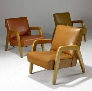 Russel wright three lounge chairs upholstered in vinyl on blonde wood frames 31 12 x 25 12 x 31 12