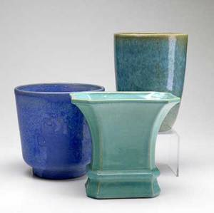 Galloway three ceramic vases covered in blue and green glazes all marked heights 7 14 and 8
