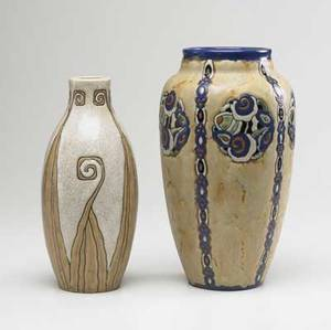 Bosch freres two art deco stoneware vases with enameled stylized floral designs drilled hole to base of largest both marked 10 and 11 14