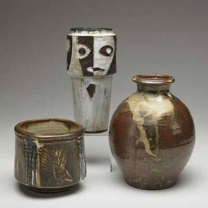 Vivika  otto heino etc three ceramic pieces foursided vessel by heino bulbous vase in the style of hamada and cylindrical vase with cubiststyle faces all covered in brown beige and ivory gl